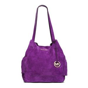 "MK ""Ashbury"" Purple Suede Tassel Hobo"